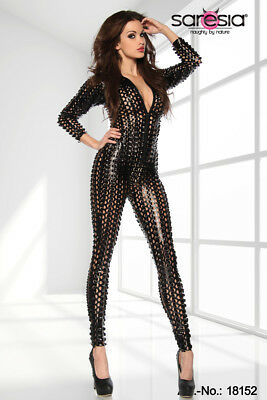 3D Cyber Catsuit Black Gold Wetlook Lack Overall GOTHIC CLUBWEAR PARTY GO-GO