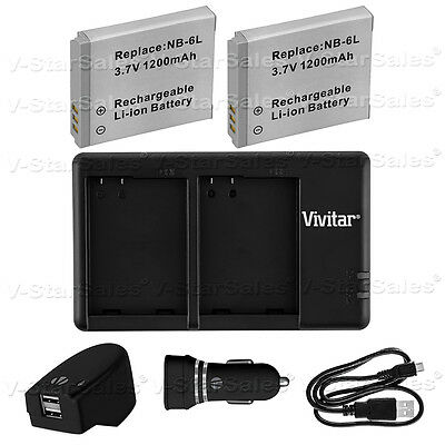 2X NB-6LH Replacement Battery & USB Dual Charger +AC/DC for Canon SX710 S120 D30