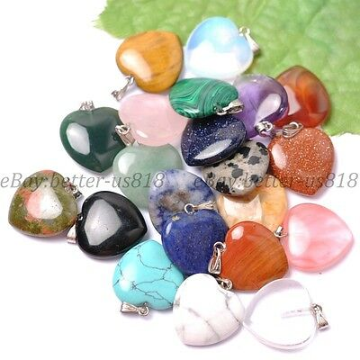 Natural Gemstones Heart Reiki Chakra Pendant Beads Necklace Earrings