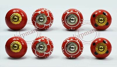 16Pcs Red,white,Black color mix Kitchen/dress Ceramic Knobs Cupboard drawer pull