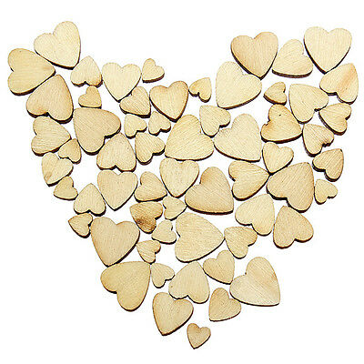 Love Heart Plain Wooden Shabby Chic Craft Vintage Confetti Hearts Various Sizes