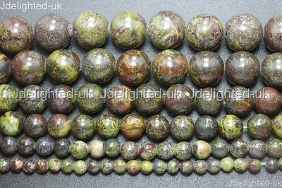 Natural Bloodstone Gemstone Round Spacer Beads 4mm 6mm 8mm 10mm 12mm 14mm 15.5""