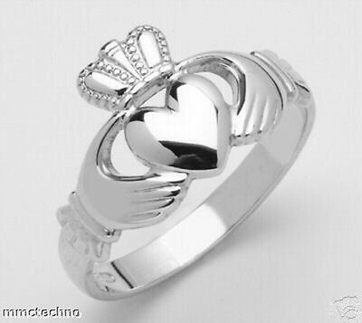 Childrens Genuine Irish Handcrafted Sterling Silver Claddagh Ring sizes 2 to 6