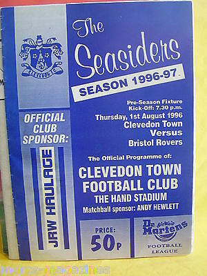 Football Programme Clevedon Town V Bristol Rovers 1St Aug 1996