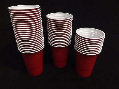 100 x Amercian 16oz Plastic Red Party Cups (Beer Pong)