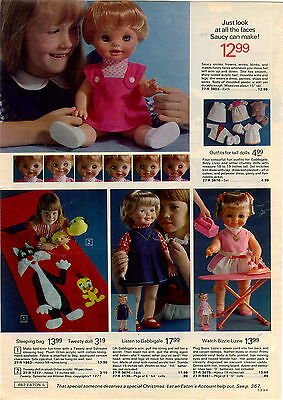 1973 ADVERTISEMENT Doll Saucy Gabbigale Bizzie Lizzie Tweety Sylvester Sleeping