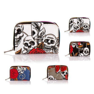 New Ladies Skull Print faux Leather Small Purse Wallet Coin Purse Handbag