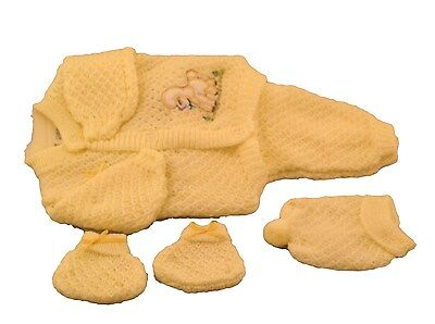 Yellow Crochet New born Baby set outfit dog design pants sweater booties hat