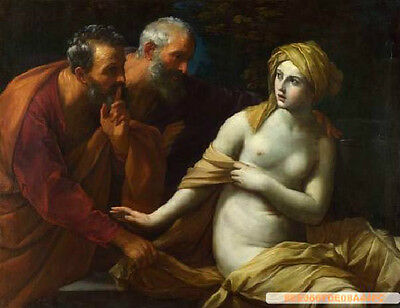 """Art Oil painting portraits Guido RENI Susanna and the elderly in landscape 36"""""""