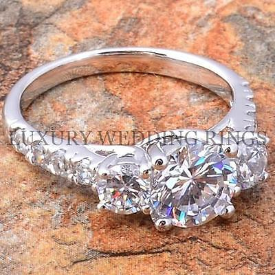 Silver Wedding Engagement Ring 2.75Ct Brilliant Cut AAA Cubic Zirconia Size 5-10