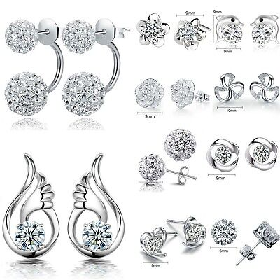 Luxury Elegant Women`s 925 Sterling Silver Crystal Ear Stud Earrings Jewelry