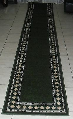 New Extra Long Modern Green Rubber Back Floor Hallway Runner Rug 67X500Cm