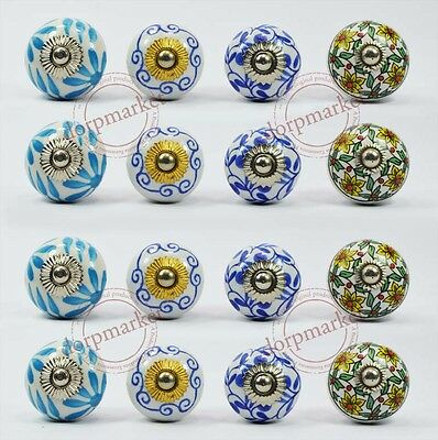16 Pieces White & Multi Color Kitchen / dress Ceramic Knobs Cupboard drawer Pull