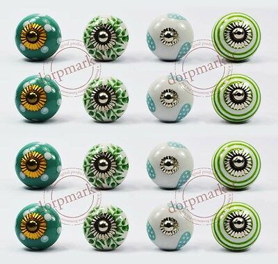 16 Pcs White,Green &Mix Color Kitchen / dress Ceramic Knobs Cupboard drawer Pull