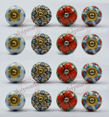 16 Pcs White,Red & Mix Color Kitchen / dress Ceramic Knobs Cupboard drawer Pull