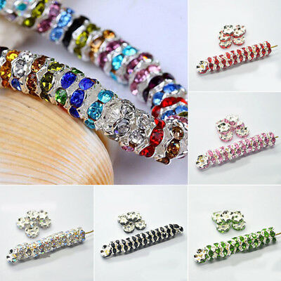 Wholesale 100pcs Silver Plated Czech Crystal Rhinestone Rondelle Spacer Beads