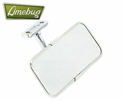 Mooneyes Chrome Rectangular Rear View Mirror VW T1 Beetle Buggy Screw Mount