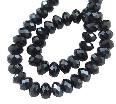 100 pcs RONDELLE FACETED GLASS CRYSTAL BEADS 6 mm BLACK  LUSTER jewellery