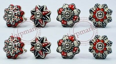16Pcs White,Red & Black Color Kitchen / dress Ceramic Knobs Cupboard drawer Pull