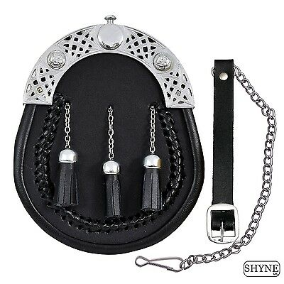 Full Dress Leather Sporran with Chain Tassels with Free Sporran Chain Straps
