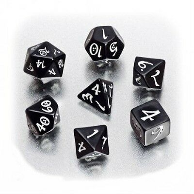 Classic Elven Dice Q-Workshop Black & White Dice Set of 7 POLYHEDRAL Shapes