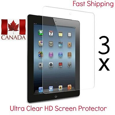 3x Ultra Clear HD Screen Protectors for iPad 2,3,4  with 3 free cloths