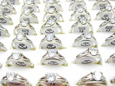 wholesale jewelry lots 5pcs zircon rhinestone silver Plated rings free shipping
