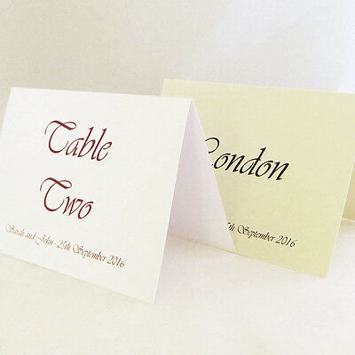 Personalised Freestanding Wedding Table Number or Name Cards