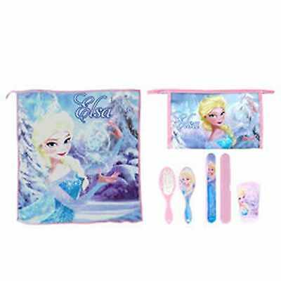 Disney FROZEN ELSA 5pc Child Health -Towel, Cup, Toothbrush Cover, Brush, Bag