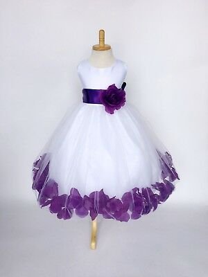 Flower Girl White Tulle Rose Petal Dress Purple Summer Spring Holiday Party #24