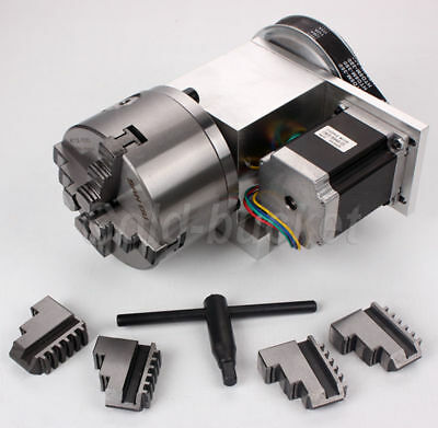 4th Axis Hollow Shaft CNC Router Rotational A Axis Φ100MM 4 Jaw Chuck Engraving