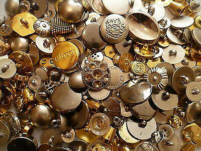 70 - 2000 Mixed Gold Silver Buttons Variety Shapes Sizes Art Craft Sewing Design