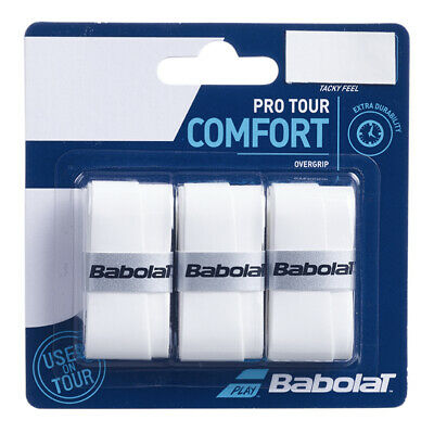 Babolat Pro Tour White Overgrip Tennis grips - Pack of 3 - Free UK P&P