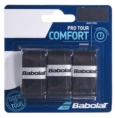 Babolat Pro Tour Black Overgrip Tennis grips - Pack of 3 - Free UK P&P