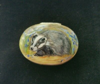 Solid Silver Hallmarked Hand Enamelled Badger Box    Collectables