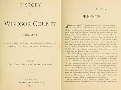 1891 WINDSOR County Vermont, VT, History and Genealogy Ancestry DVD CD B18