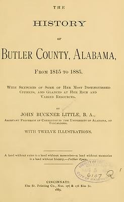 1885 BUTLER County, Alabama AL, History and Genealogy, Ancestry DVD CD V92