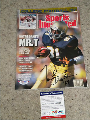 TIM BROWN NOTRE DAME oakland raiders SIGNED sports illustrated  MAGAZINE psa/dna