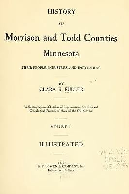1915 MORRISON & TODD County Minnesota MN, History and Genealogy Ancestry CD B08