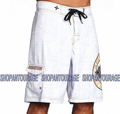 1c6366699d AFFLICTION ROYAL CHROMATIC 101BS099 Men`s New White Boardshorts ...