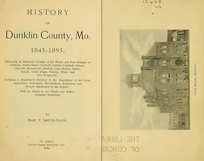 1896 DUNKLIN County Missouri MO, History and Genealogy Ancestry Family DVD B23