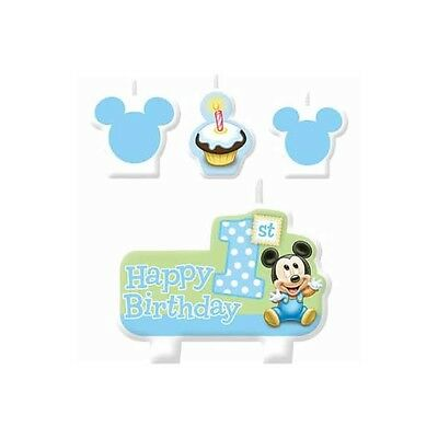 Party Supplies Boys Decorations Mickey Mouse 1st Birthday Candle Set Pack of 4