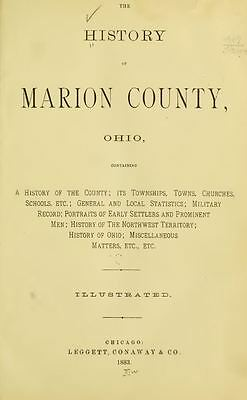 1883 MARION County Ohio OH, History and Genealogy Ancestry Family Tree DVD B14