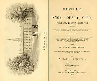 1862 KNOX County Ohio OH, History and Genealogy Ancestry Family Tree DVD B14