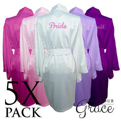 5 PACK Bridal Wedding Bride Bridesmaid Dressing Gowns Satin Robes Personalised