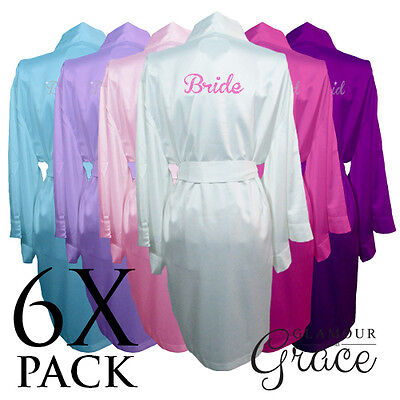 6 PACK Bridal Wedding Bride Bridesmaid Dressing Gowns Satin Robes Personalised