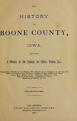 1880 BOONE County Iowa IA, History and Genealogy Ancestry Family Tree DVD B38