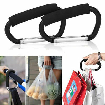 X 2 Universal Large Buggy Mummy Clip Pram Pushchair Shopping Bag Hook Carabiner