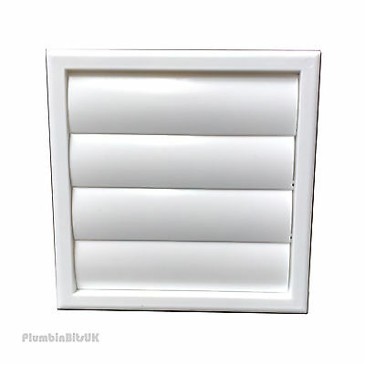 """Kitchen Extractor Fan Wall Grille 5"""" 125mm Ducting Gravity Flap WHITE Bathroom"""