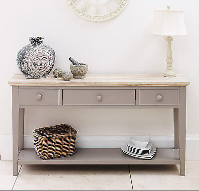 FLORENCE Dove Grey Console Table, kitchen hallway console table, 3 drawers,shelf